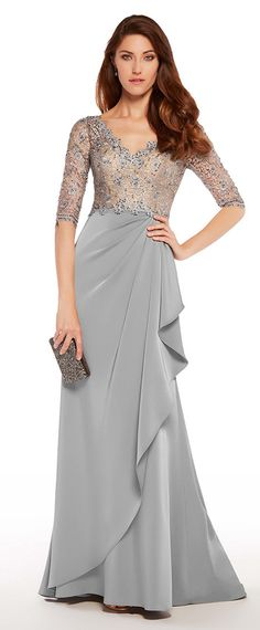 Glamorous Lace & Acetate Satin V-neck Neckline Half Sleeves Sheath/Column Mother Of The Bride Dresses With Hot Fix Rhinestones