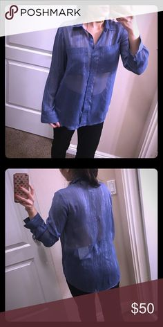 NWOT Blue Sapphire Metallic Micheal Kors shirt Super pretty and classy! 98% polyester 2% metallic. Machine wash cold, line dry, do not bleach. Cool iron if needed. Do not dry clean. Brand new! KORS Michael Kors Tops Button Down Shirts