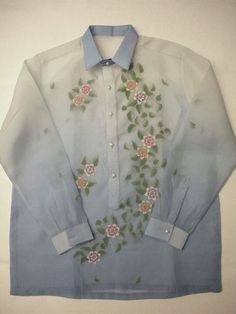 barong tagalog with floral pattern