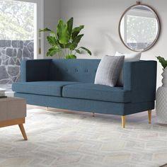 Ivy Bronx Brabham Sofa Upholstery Color : Charcoal Gray Furniture, Sofa Upholstery, Sofa Design, Modern Loveseat, Collins Sofa, Mid Century Sofa, Tufted Sofa, Upholstery, Cushion Cover Designs