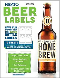 Neato Blank Vinyl Beer Bottle Labels - 40 pack - Create Custom Bottle Labels https://www.amazon.com/dp/B00YB1HA6Q Vinyl - Water Resistant Material. High Gloss Finish, Self Adhesive. Great for home brewing, best man, groom, groomsmen, birthday, wedding, party, business and more.
