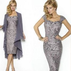 2016 Gray Lace Women Formal Gown Madre Del Vestidos Sheath Mother Of The Bride Groom Dresses With Chiffon Jacket-in Mother of the Bride Dresses from Weddings & Events on Aliexpress.com   Alibaba Group