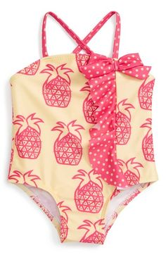 Sol Swim 'Sketchy Pineapple' One-Piece Swimsuit (Baby Girls)