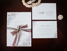 Watercolor wedding stationery photo by Brita Photography