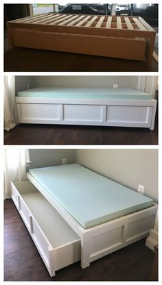 New Bedroom Furniture Diy Storage Ana White Ideas Daybed With Storage, Diy Daybed, Daybed With Trundle, Bunk Bed, Daybed With Drawers, Dog Storage, Bedroom Drawers, Diy Furniture Projects, Furniture Making