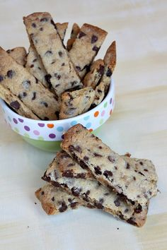 Chocolate Chip Toffee Strip Cookies by RecipeGirl.com from a sweet cookie cookbook, Cookies for Kids': All the Good Cookies, to fight pediatric cancer. Yes, please! #chocolatechip #cookie #dessert #snack #recipe