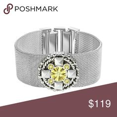 Just Cavalli bracelet New in box Just Cavalli Light Green Crystal Cuff Bracelet in Sterling Silver-Plated Stainless Steel Measures 8 3/8 by 1 1/8 inches Just Cavalli Jewelry Bracelets