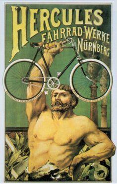 1939 Herrenrad Hercules (Fahrrad Werke, Nurnberg) – The Online Bicycle Museum Vintage Advertising Posters, Vintage Advertisements, Vintage Ads, Vintage Posters, Old Bicycle, Bicycle Race, Old Bikes, Bicycle Shop, Bike Illustration