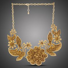 Gold Antique Floral Bib
