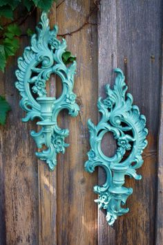 Vintage - Upcycled - Ornate Wall Sconces - Jade - Candle holders - Victorian Chic