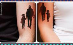 father daughter silhouette tattoo