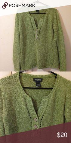 Eddie Bauer sweater s/p Pretty green sweater never worn,only washed. Eddie Bauer Sweaters V-Necks