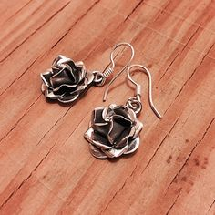 """‼️‼️Sterling Silver Rose Earrings Stamped """"Mexico 925""""  This is not a stock photo. The image is of the actual article that is being sold.  Sterling silver is an alloy of silver containing 92.5% by mass of silver and 7.5% by mass of other metals, usually copper. The sterling silver standard has a minimum millesimal fineness of 925.  All my jewelry is solid sterling silver. I do not plate.   Hand crafted in Taxco, Mexico.  Will ship within 2 days of order. Jewelry Earrings"""