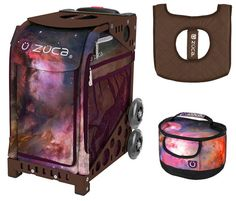 Zuca Sport Bag - Galaxy with Gift Lunchbox and Seat Cover (Brown Frame)