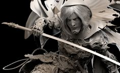 ArtStation - -Ninja Female Warrior- (Sculpt) , Caleb Nefzen