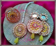 Jewellery for engagement Gota Patti Jewellery, Thread Jewellery, Boho Earrings, Crochet Earrings, Silk Thread Necklace, Indian Jewelry, Making Ideas, Jewelry Sets, Hand Embroidery