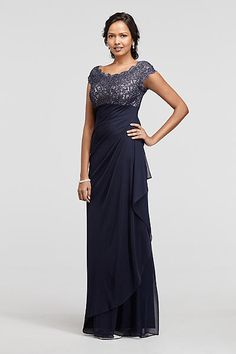 Long Mesh Dress with Cap Sleeves and Lace Bodice XS8201