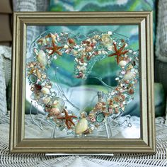Beach Decor for Wedding Gift, Heart of Shells in Glass Art, Beach Decor for Coastal Home, Shell Art on Glass, Coastal Wall Art by on Etsy Sea Glass Crafts, Sea Crafts, Sea Glass Art, Stained Glass Art, Water Glass, Fused Glass, Resin Crafts, Blown Glass, Mosaic Glass
