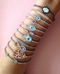 Evil Eye Adjustable Tennis Bracelet Handmade by Irisjewelerystudio
