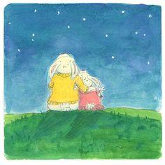 Mother and Daughter Rabbit Star Gazing Night Sky by AbbyDoraDesign, $15.00