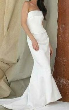 Lucy Lin Satin Bridal Gown.  Size 8.  £400.