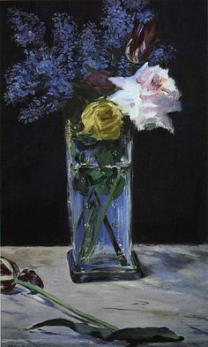 Édouard Manet - Roses, Tulips and Lilacs in a Crystal Vase