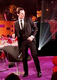 When he busted out some amazing dance moves while wearing a suit. | 18 Times Benedict Cumberbatch Looked Like An Absolute GOD In A Suit// what do you mean? Hes always DROP DEAD GORGEOUS!