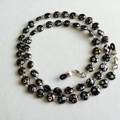Black And Silver Czech Beaded Eyeglass Chain Holder by HeavenlyChains on Etsy