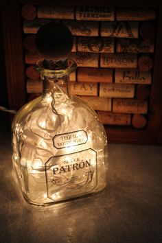 upcycled Patron bottle light with cork: upcycled christmas lights = new night light!