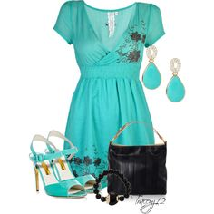 """""""Turquoise and Black"""" by traceyj12 on Polyvore"""