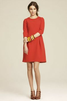 red fall dress- would be cute with some tights and boots!