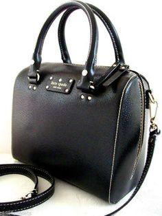 Kate Spade Wellesley Alessa Black Leather Shoulder Satchel Doctor Bag