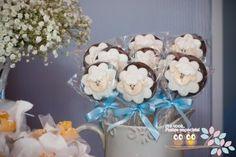 Pirulitos de chocolate da festa da ovelhinha