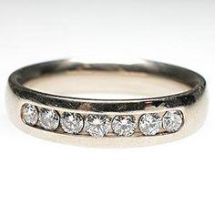 Estate Mens Diamond Wedding Band Ring Solid 14K White Gold - EraGem