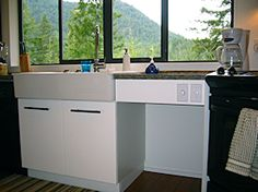 Moon Dance Perch is a custom built modern cabin accommodation offering privacy, full amenities, and fully accessible for the handicapped. Table Height, Counter, Island, Chair, Modern, Kitchen, Block Island, Recliner, Cooking