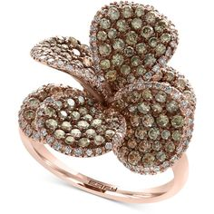 Effy Diamond Flower Ring (2-1/4 ct. t.w.) in 14k Rose Gold (200,765 EGP) ❤ liked on Polyvore featuring jewelry, rings, rose gold, round diamond ring, flower diamond ring, 14 karat white gold ring, rose gold flower ring and pink gold rings