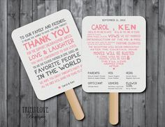 For hot summer weddings, make your ceremony program and thank-you message into a fan to help keep guests cool.