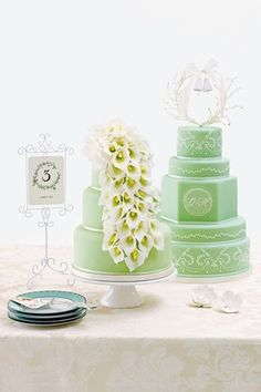 """Mint Wedding Cake """"Fresh As Mint"""" - wish we saw this for our Mintspiration board! Mint Wedding Cake, Wedding Mint Green, Lily Wedding, Wedding Cake Toppers, Green Weddings, Wedding Scene, Summer Wedding, Dream Wedding, Beautiful Wedding Cakes"""