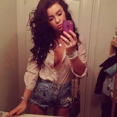 Tan Silk Blouse and High Waisted Denim Shorts So Copying