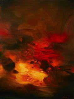 Chu TEH-CHUN (né en 1920), Composition à fond rouge, 1979