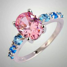 Silver Plated Pink Topaz And Sapphire Ring Sz 8