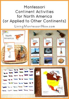 Montessori Continent Activities for North America (or Applied to Other Continents) Ideas for Montessori continent activities using Montessori Print Shop materials. Examples in the post use North America printables but can be applied to other continents as Continents Activities, Geography Activities, Geography Lessons, Teaching Geography, Montessori Homeschool, Montessori Classroom, Montessori Activities, Montessori Elementary, Homeschooling