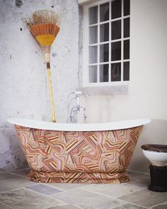 Galleon bath covered in bespoke fabric print
