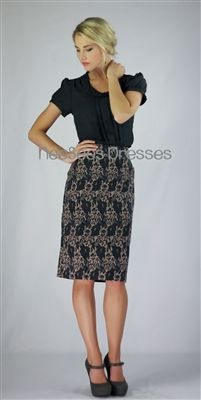Printed Pencil Modest Skirt by Mikarose