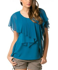 Another great find on #zulily! Teal Cascade-Tier Cape-Sleeve Tunic #zulilyfinds
