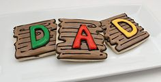 father's day woodgrain cookies.