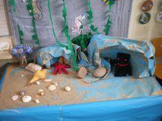 """Een zomerthema: """"de Mooiste Vis van de Zee"""" De inktvis en de zeester zijn gemaakt van een vingerhandschoen(en) De grotten zijn van geschilderd en gekreukt papier. De vissen zitten op stokjes om makkelijker te hanteren. Classroom Displays, 4 Year Olds, Reading Room, Our Planet, Summer Crafts, Little People, Under The Sea, Projects To Try, Preschool"""