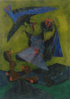 """Rufino Tamayo (Mexican, 1899–1991) Girl Attacked by a Strange Bird Date: 1947 Medium: Oil on canvas Dimensions: 70 x 50 1/8"""" (177.8 x 127.3 cm)"""
