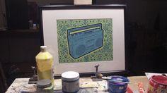 Boom Box Screen Print on Green Paper, Kay Gregg, 2012