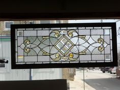 antique stained glass transom window - excellent condition